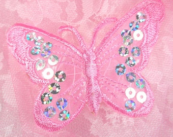 """GB167 Pink Butterfly Patch Sequin Embroidered Applique 2"""" (GB167-pk)"""