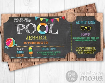 Pool Party Invitations Tickets Birthday Invite Swimming INSTANT DOWNLOAD Kids Children Personalize TWINS Editable Digital Printable Template