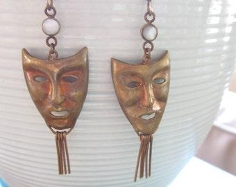 Vintage Brass Plated Drama Mask Earrings for Pierced Ears Embellished
