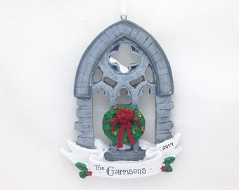 CLEARANCE: Gothic Church Window Ornament / Window with Wreath / Personalized Christmas Ornament / Custom Name or Message