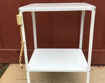 Vintage Mid Century White Light Duty Rolling Metal Kitchen Cart 2 Tiers