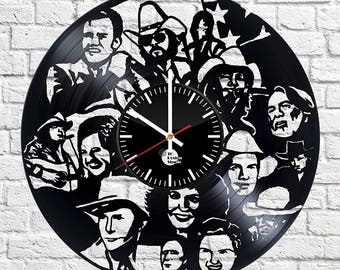 COUNTRY SINGERS Vinyl Record Wall Clock