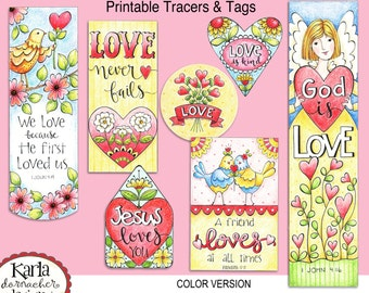 Valentine Love FULL COLOR Bookmarks  Bible Journaling Tags Tracers Stickers Instant download Scripture Printable