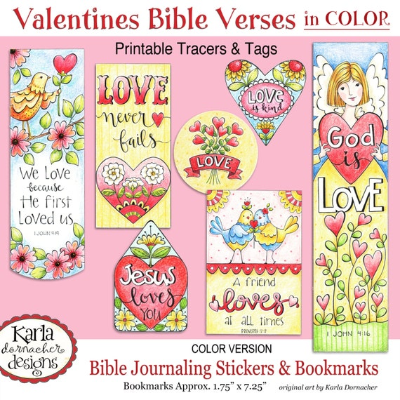 Valentine Love FULL COLOR Bookmarks Bible Journaling Tags Tracers Stickers Instant Download Scripture Printable From Karladornacher On Etsy Studio