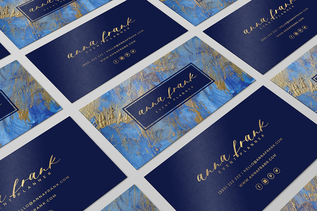 Business card design marble business card navy and gold zoom colourmoves Gallery