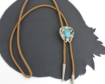 Art Nouveau Inspired Turquoise Stone & Silver Western Bolo Tie