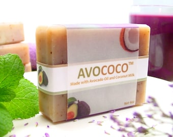 Coconut Milk Soap, Lavender Mint Soap, Skin Care, Avocado Oil, Coconut, Natural Soap, Handmade Soap, Vegan Soap, Lavender Soap
