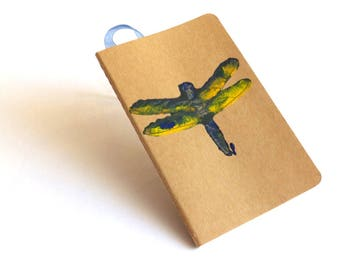 Pocket Diary MOLESKINE® plain with linocut dragonfly design, notebook or sketchbook for writers or other artists, insect lovers