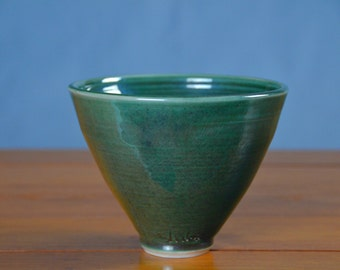 Ceramic Green Serving Bowl, Hand Thrown Porcelain Pottery, Japanese, Teal, Centerpiece, Mixing, Soup, Unique Gift Mom | Caldwell Pottery