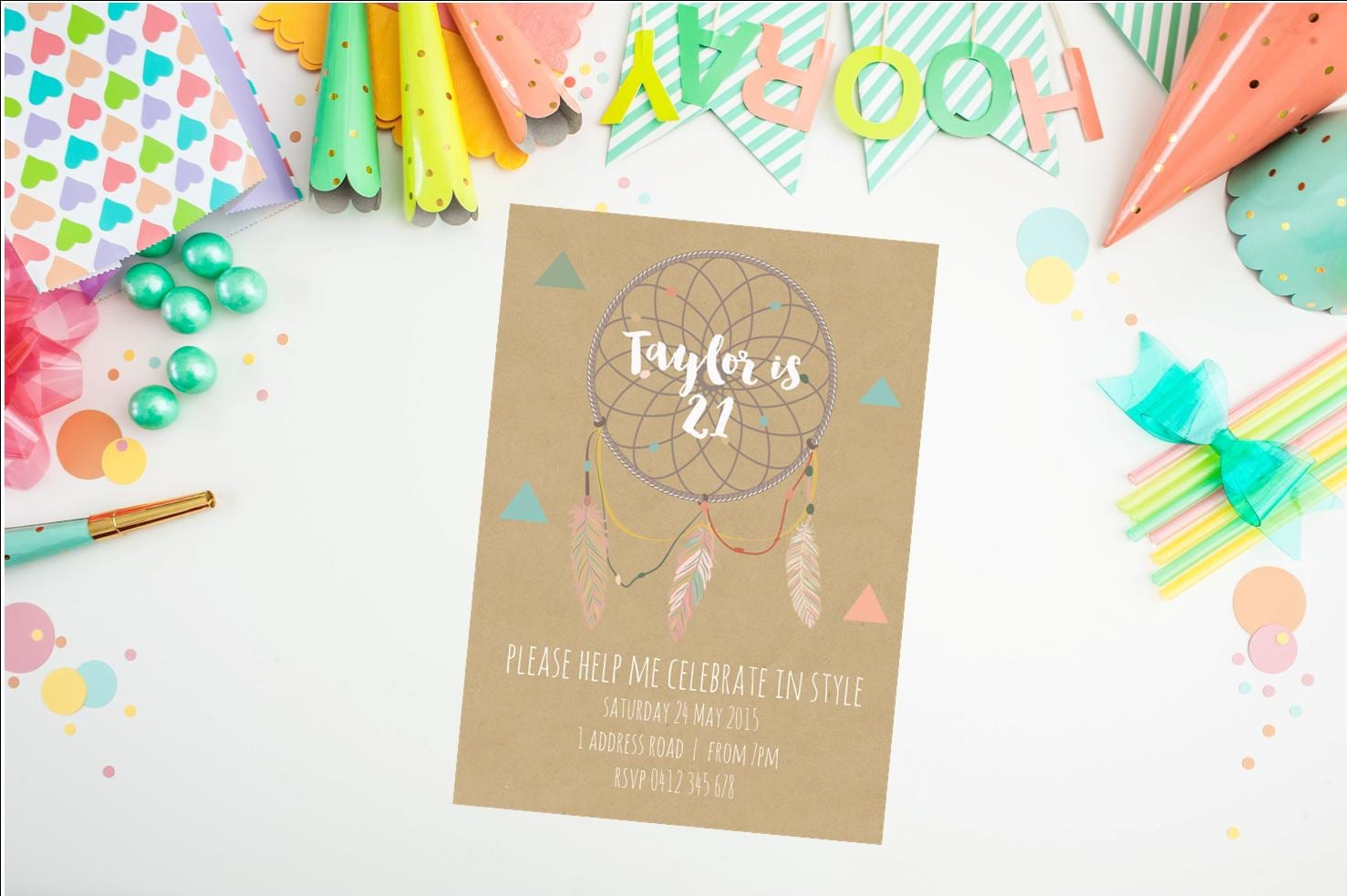 Dream Catcher Invitation. 21st Invitation. Bohemian Birthday