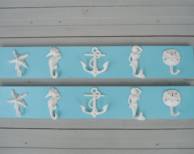2 Beach towel racks 10 hooks nautical beach decor coat coastal living pool  hot tub outdoor shower bathroom BeachHouseDreamsHome Outer Banks