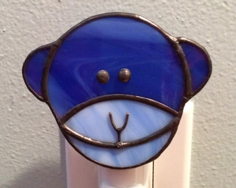 Stained Glass Blue Monkey Night Light