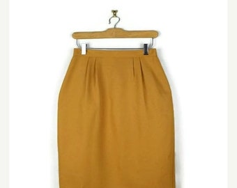 ON SALE Vintage Plain Yellow Pencil skirt from 80's/W26-28