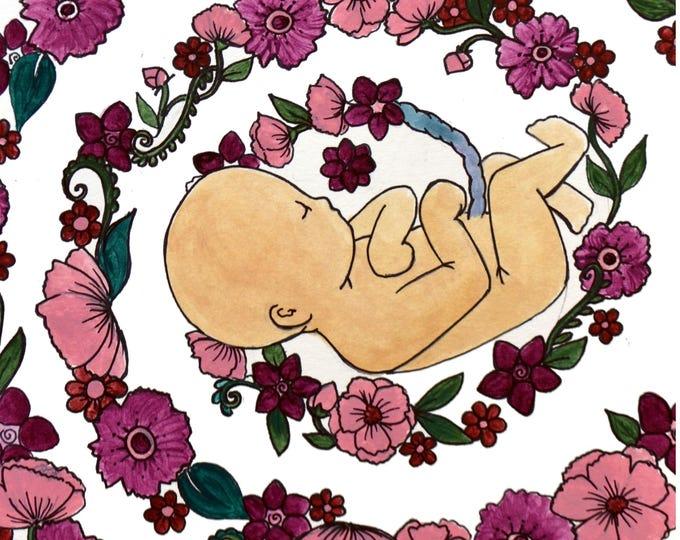 """BLISS Magnet/ 4"""" x 5""""/ Fridge magnet/ Birth art/ pregnancy/ gift for doula/ gift for midwife/"""