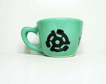 12oz cup with a 45 insert print, shown here on blue-green glaze - Made to Order / Pick Your Colour