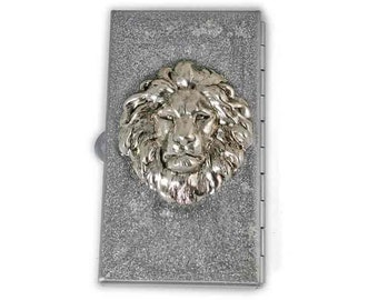 Majestic Lion Metal Pill Box Inlaid in Hand Painted Metallic Silver Enamel Neo Victorian Leo Pill Case with Personalized and Color Options