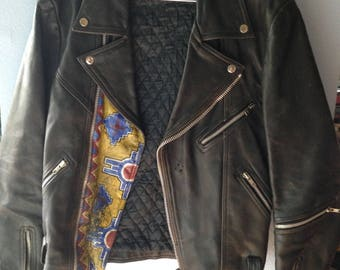 Vintage Black Leather Motorcycle Jacket, Size Small, 1980's Motorcycle Jacket, Moto Jacket, Hand painted leather Jacket, Boyfriend Gift