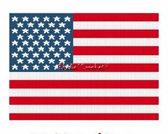 INSTANT DOWNLOAD Chella Crochet American United States U.S. Flag Afghan Crochet Pattern Graph Chart .pdf