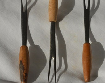 Three Wood Handles Appetizer Forks