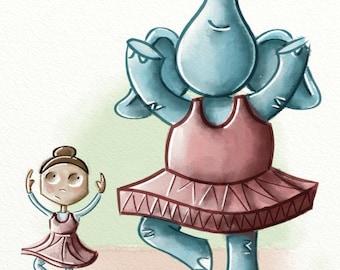 Petunia the Pirouetting Pachyderm - 8x10 Illustration Print