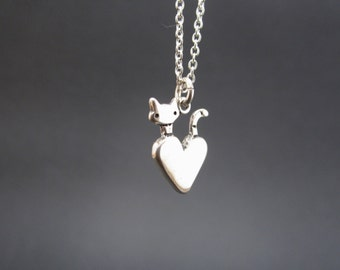 Little Cat Necklace - Sterling Silver Cat Pendant - Cat with Heart