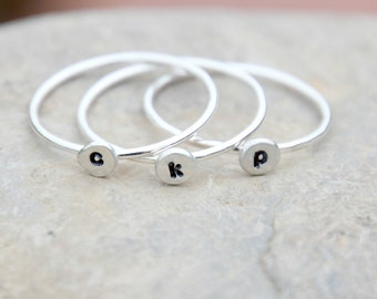 TINY INITIAL RING - Pebble Ring - Initial Pebble Ring - Initial Ring - Hand Stamped Stacking Ring - thin stacking ring - stackable rings
