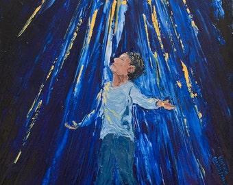 "10"" x 10"" (25cm x 25cm)   Black Man in Light ""All In""  Oil on Canvas Original Fine Art Palette Knife Painting"