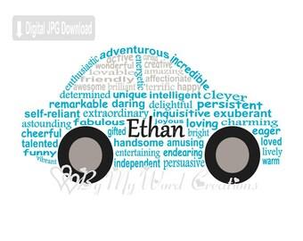 Car Word Art, Personalized Compact Car Art, Fathers Day Gift, Birthday Gift, Personalized Word Art Typography, PRINTABLE DIGITAL FILE