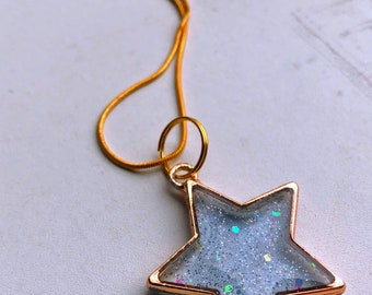 Sparkly Blue Star Resin Cast Pendant, Goltone Chain Necklace