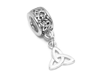 Celtic Trinity Knot Large Hole Bead with choice of All Silver or Silver Gold Bead