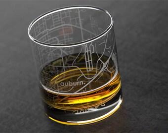 Auburn - Auburn University - College Town Map Rocks Glass