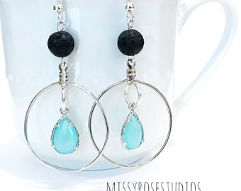 lava stone earrings, diffuser earrings lava, aromatherapy earrings, lava crystal, essential oil jewelry for women, lava bead earrings