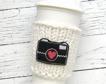 Camera Coffee Cozy, Chunky Coffee Cozy, Knit Coffee Cozy, Photographer Gift, Photography Gift, Applique Coffee Cozy, Mothers Day Gift
