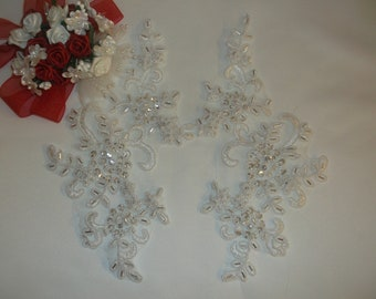 White Silver/Rhinestone/Pearl Beaded Applique