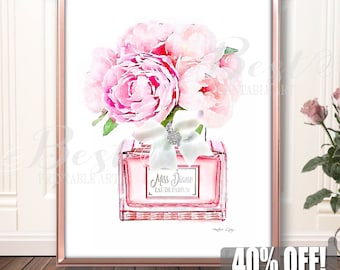 Watercolor Peonies Art, Pink Girlfriend Gift,  Pink Mom Gift, Watercolor Fashion Print, Best Friend Gift,Perfume Printable,Fashion Printable