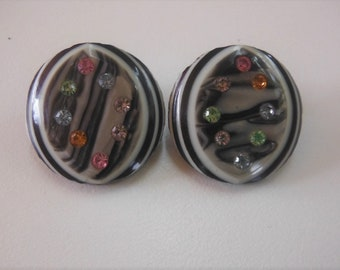 Celluloid and Rhinestone Earrings, 1960's Black & White With Multi-color Rhinestones