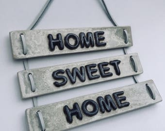 Wall hangings, ceramic wall hanging, wall decoration, wall ornament, wall hanging house picture, wall decor, home sweet home, wall sign,