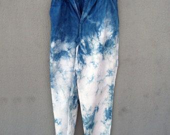 Indigo Dyed Shibori Pants