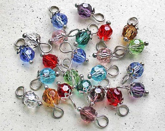 BULK 60 Birthstone Beads 6mm Faceted with Bead Caps and Loop 5 of Each Month- DBD562