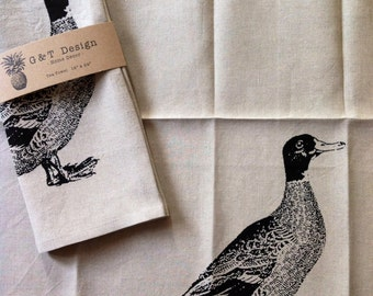 Canadiana Duck Screen Printed Tea Towel, Eco Friendly 100%Natural Linen, Hostess Gift, Mothers Day gift, Wedding Gift