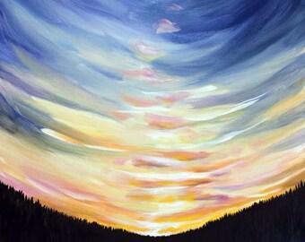 Tent and Sunrise - Mountain Landscape Canvas Print