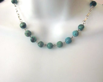 Natural Turquoise Stone Beaded Necklace Southwest Jewelry