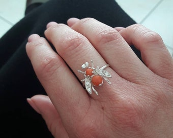silver 925 and coral bee ring