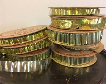 Metal Foil Aluminum Metal Trim Tinsel 8 Spools  Vintage 50s Made in St Louis MO