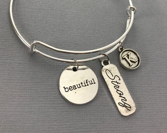 Bangle Bracelet - Charm Bracelet - Inspirational Bracelet - Recovery Bracelet - Motivational bracelet - Strong is Beautiful - Recovery Gifts
