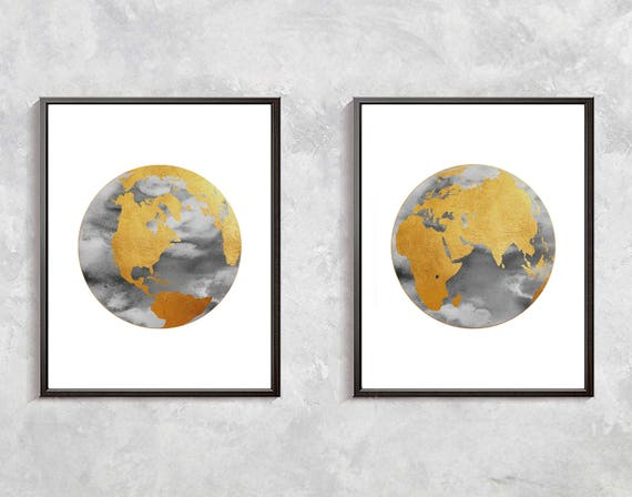 Gold world map print watercolor globe gold decor world clobe gumiabroncs Image collections