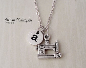 Sewing Machine Necklace - Personalized Monogram Initial Necklace - Gifts for Seamstresses