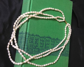 "Vintage Freshwater Pearl 3 Strand Necklace, Fresh Water Pearl Necklace 18"" Long Vintage Freshwater Jewelry"