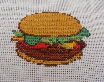 Burger cross stitch pattern chart pattern