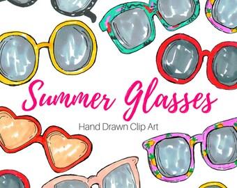 Glasses Clip Art - Summer Clip Art - Beach Clip art - Hipster clip art - Doodle clip art - Hand Drawn - Commercial Use